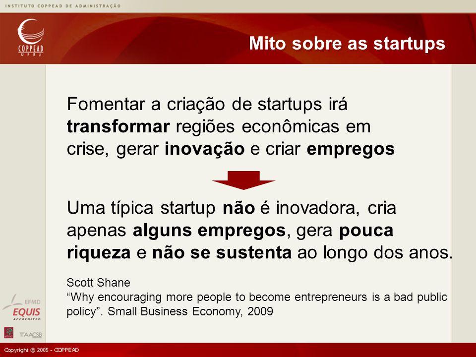 Fomentar a criação de startups irá transformar regiões econômicas em crise, gerar inovação e criar empregos Mito sobre as startups Uma típica startup não é inovadora, cria apenas alguns empregos, gera pouca riqueza e não se sustenta ao longo dos anos.