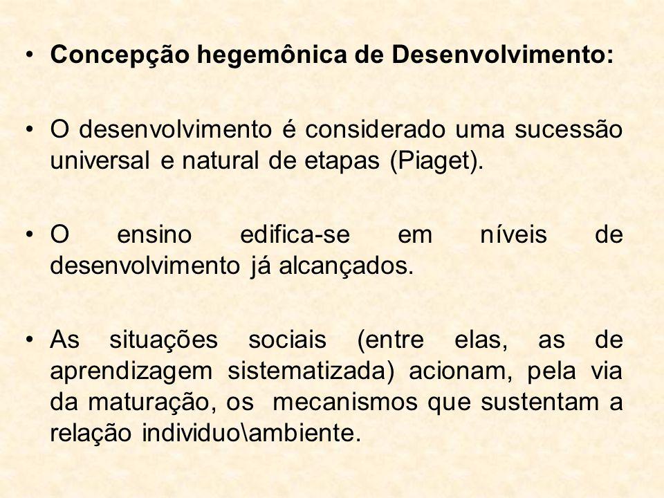 Concepção hegemônica de Desenvolvimento: O desenvolvimento é considerado uma sucessão universal e natural de etapas (Piaget). O ensino edifica-se em n