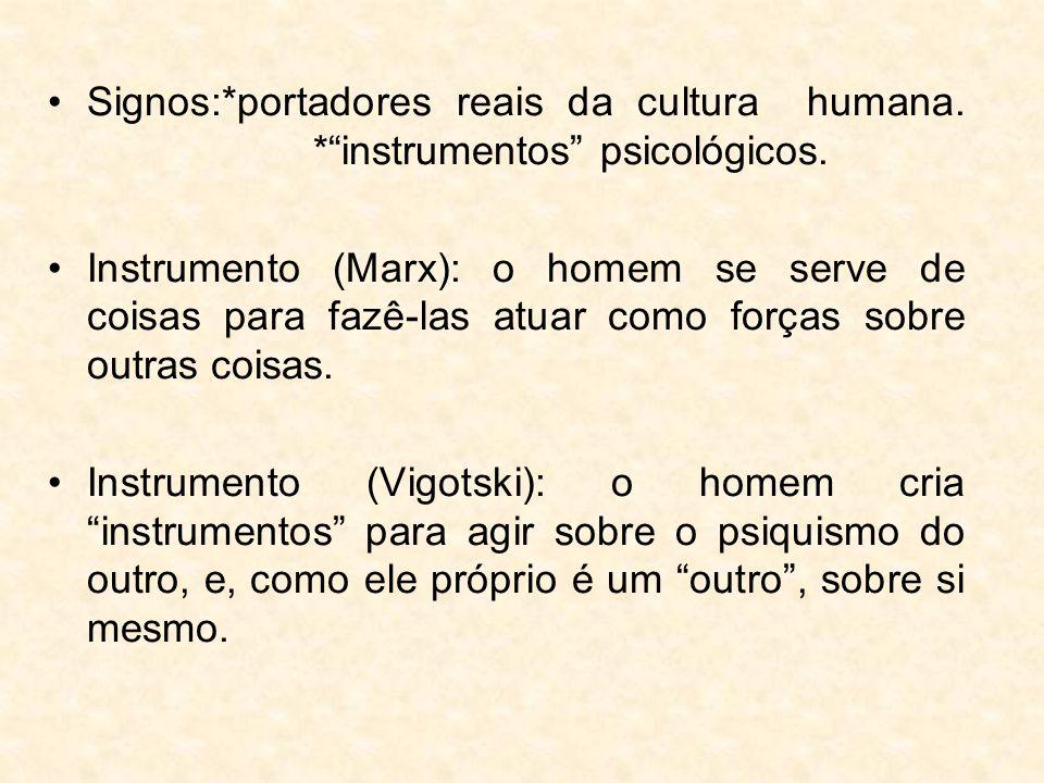 """Signos:*portadores reais da cultura humana. *""""instrumentos"""" psicológicos. Instrumento (Marx): o homem se serve de coisas para fazê-las atuar como forç"""