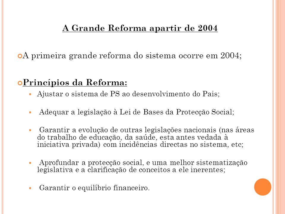 A Grande Reforma apartir de 2004 A primeira grande reforma do sistema ocorre em 2004; Princípios da Reforma:  Ajustar o sistema de PS ao desenvolvimento do Pais;  Adequar a legislação à Lei de Bases da Protecção Social;  Garantir a evolução de outras legislações nacionais (nas áreas do trabalho de educação, da saúde, esta antes vedada à iniciativa privada) com incidências directas no sistema, etc;  Aprofundar a protecção social, e uma melhor sistematização legislativa e a clarificação de conceitos a ele inerentes;  Garantir o equilíbrio financeiro.