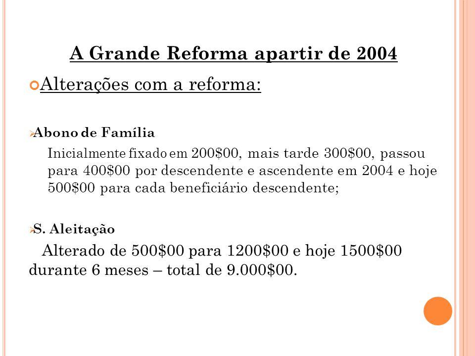 A Grande Reforma apartir de 2004 Alterações com a reforma:  Abono de Família Inicialmente fixado em 200$00, mais tarde 300$00, passou para 400$00 por descendente e ascendente em 2004 e hoje 500$00 para cada beneficiário descendente;  S.