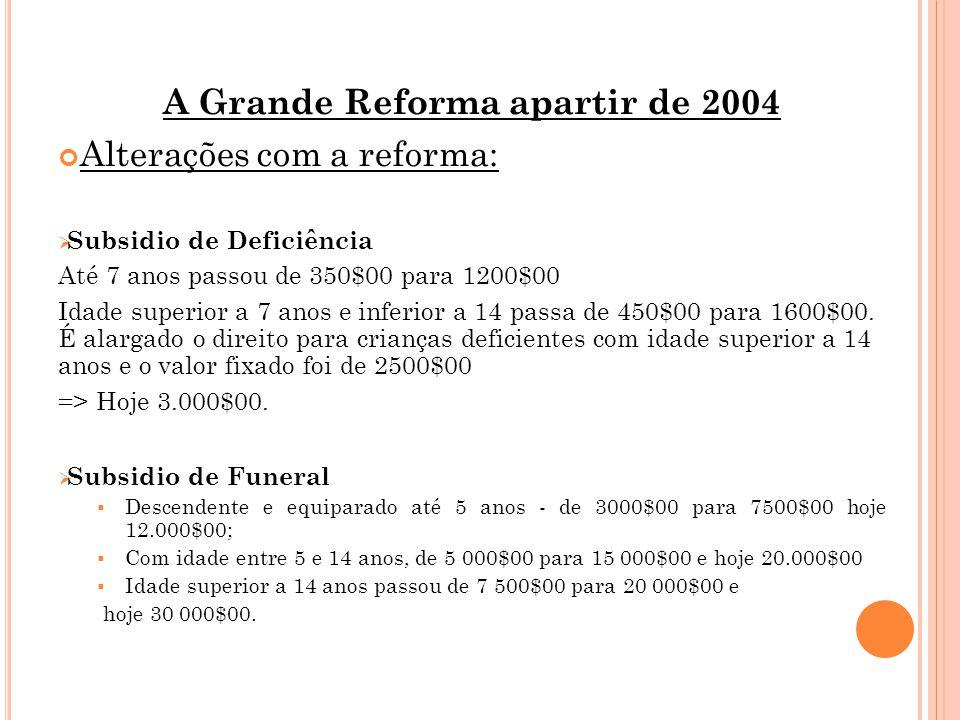 A Grande Reforma apartir de 2004 Alterações com a reforma:  Subsidio de Deficiência Até 7 anos passou de 350$00 para 1200$00 Idade superior a 7 anos e inferior a 14 passa de 450$00 para 1600$00.