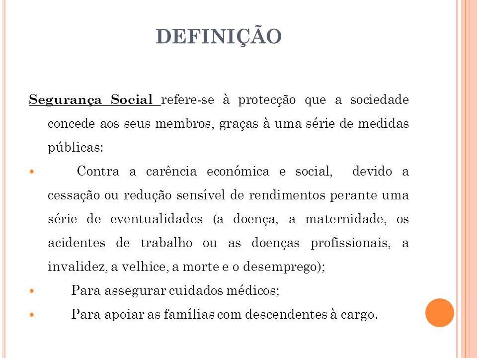 DEFINIÇÃO Segurança Social refere-se à protecção que a sociedade concede aos seus membros, graças à uma série de medidas públicas: Contra a carência e