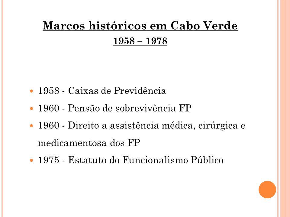 Marcos históricos em Cabo Verde 1958 – 1978 1958 - Caixas de Previdência 1960 - Pensão de sobrevivência FP 1960 - Direito a assistência médica, cirúrgica e medicamentosa dos FP 1975 - Estatuto do Funcionalismo Público