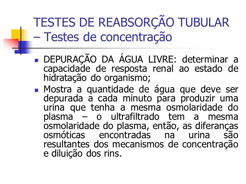 TESTES DE REABSORÇÃO TUBULAR – Testes de concentração DEPURAÇÃO DA ÁGUA LIVRE: determinar a capacidade de resposta renal ao estado de hidratação do or