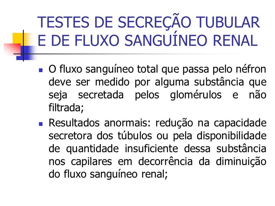 TESTES DE SECREÇÃO TUBULAR E DE FLUXO SANGUÍNEO RENAL O fluxo sanguíneo total que passa pelo néfron deve ser medido por alguma substância que seja sec