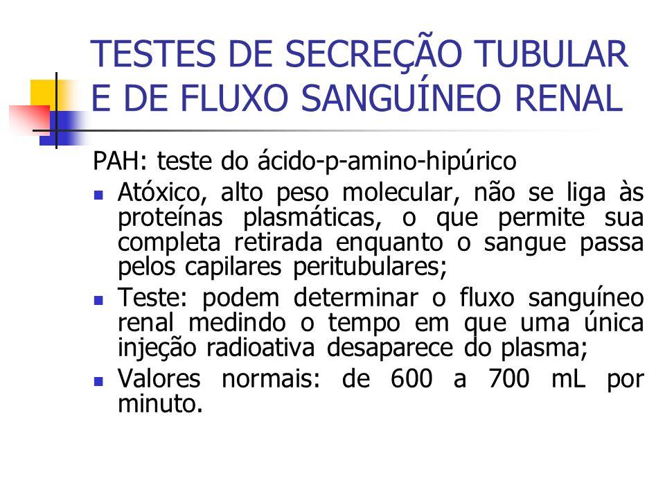 TESTES DE SECREÇÃO TUBULAR E DE FLUXO SANGUÍNEO RENAL PAH: teste do ácido-p-amino-hipúrico Atóxico, alto peso molecular, não se liga às proteínas plas
