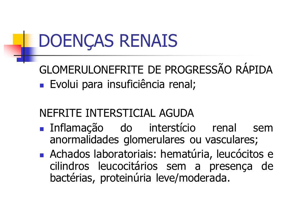 GLOMERULONEFRITE DE PROGRESSÃO RÁPIDA Evolui para insuficiência renal; NEFRITE INTERSTICIAL AGUDA Inflamação do interstício renal sem anormalidades gl