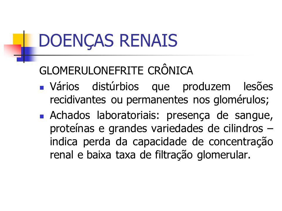 GLOMERULONEFRITE CRÔNICA Vários distúrbios que produzem lesões recidivantes ou permanentes nos glomérulos; Achados laboratoriais: presença de sangue,