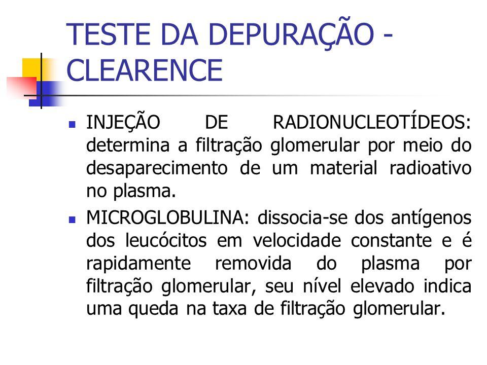INJEÇÃO DE RADIONUCLEOTÍDEOS: determina a filtração glomerular por meio do desaparecimento de um material radioativo no plasma. MICROGLOBULINA: dissoc