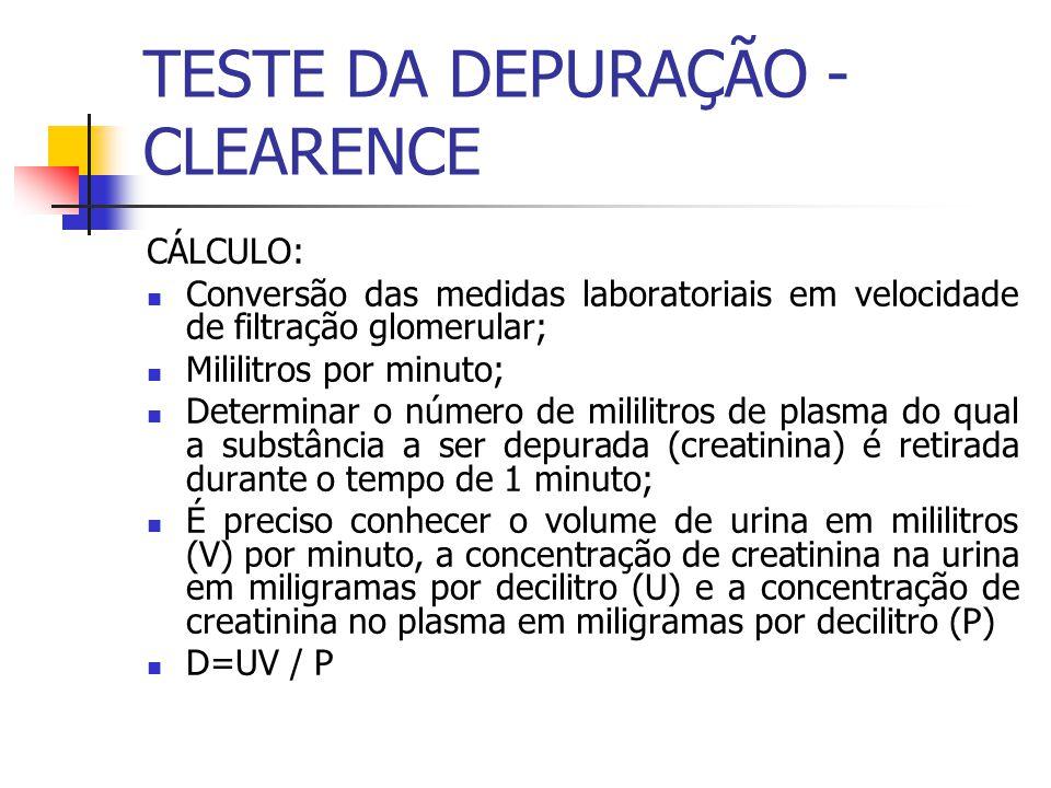 CÁLCULO: Conversão das medidas laboratoriais em velocidade de filtração glomerular; Mililitros por minuto; Determinar o número de mililitros de plasma