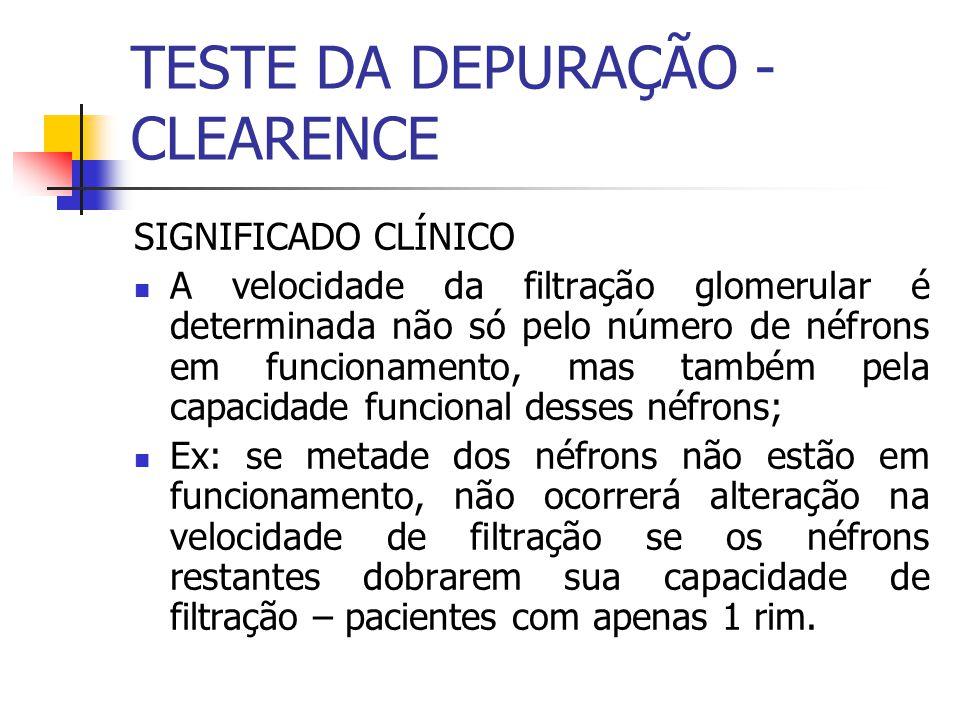 SIGNIFICADO CLÍNICO A velocidade da filtração glomerular é determinada não só pelo número de néfrons em funcionamento, mas também pela capacidade func