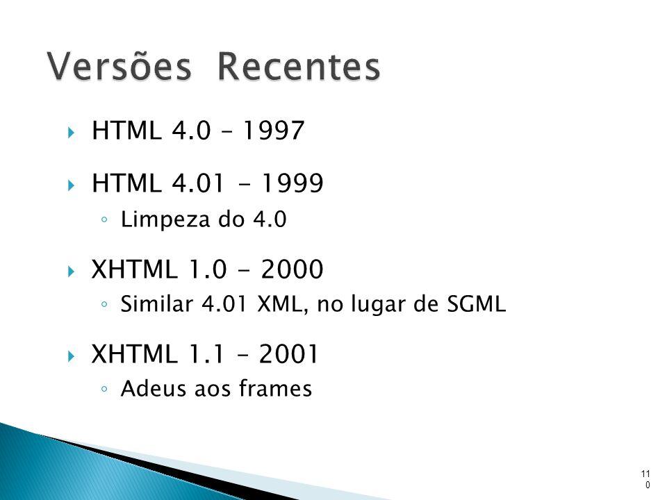  HTML 4.0 – 1997  HTML 4.01 - 1999 ◦ Limpeza do 4.0  XHTML 1.0 - 2000 ◦ Similar 4.01 XML, no lugar de SGML  XHTML 1.1 – 2001 ◦ Adeus aos frames 11