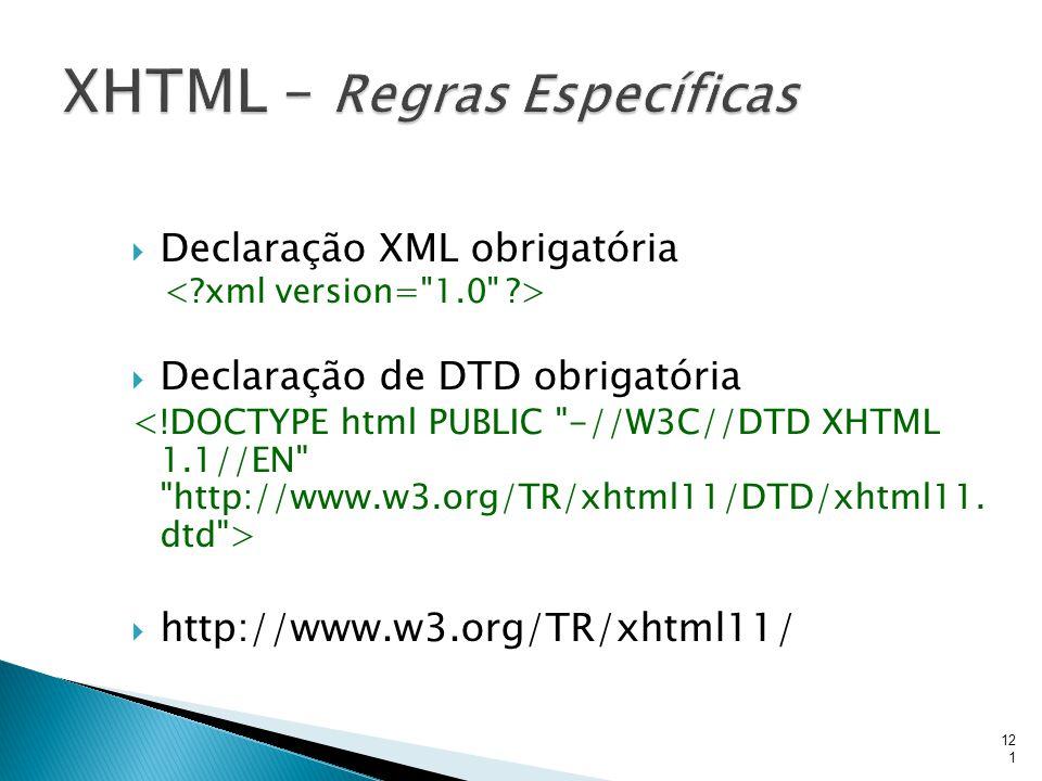  Declaração XML obrigatória  Declaração de DTD obrigatória  http://www.w3.org/TR/xhtml11/ 121