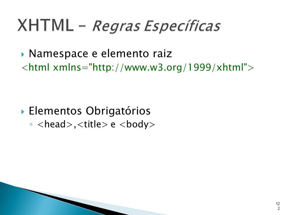  Namespace e elemento raiz  Elementos Obrigatórios ◦, e 122