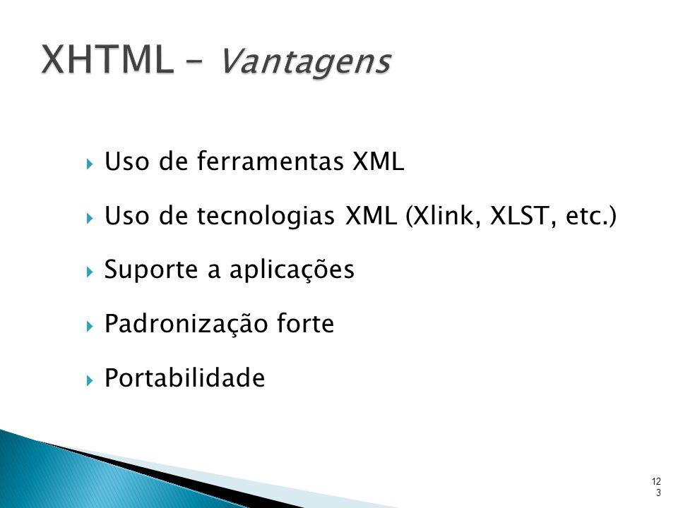  Uso de ferramentas XML  Uso de tecnologias XML (Xlink, XLST, etc.)  Suporte a aplicações  Padronização forte  Portabilidade 123