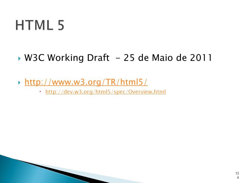  W3C Working Draft - 25 de Maio de 2011  http://www.w3.org/TR/html5/ http://www.w3.org/TR/html5/  http://dev.w3.org/html5/spec/Overview.html http:/