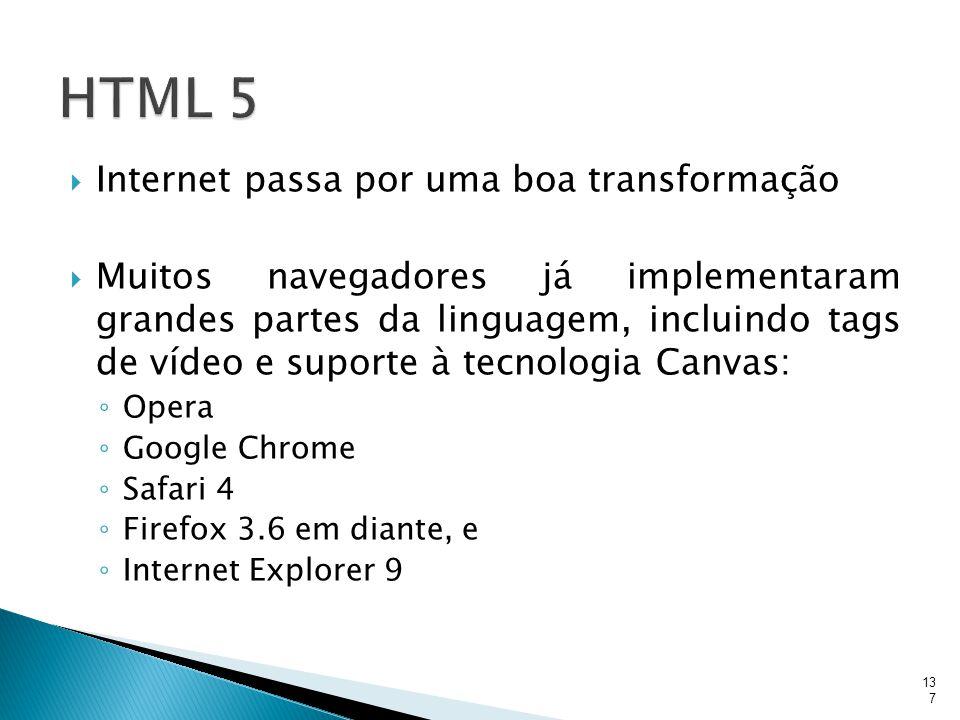  Internet passa por uma boa transformação  Muitos navegadores já implementaram grandes partes da linguagem, incluindo tags de vídeo e suporte à tecn