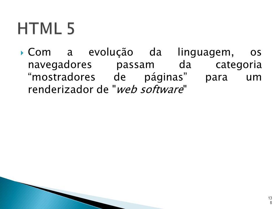""" Com a evolução da linguagem, os navegadores passam da categoria """"mostradores de páginas"""" para um renderizador de"""