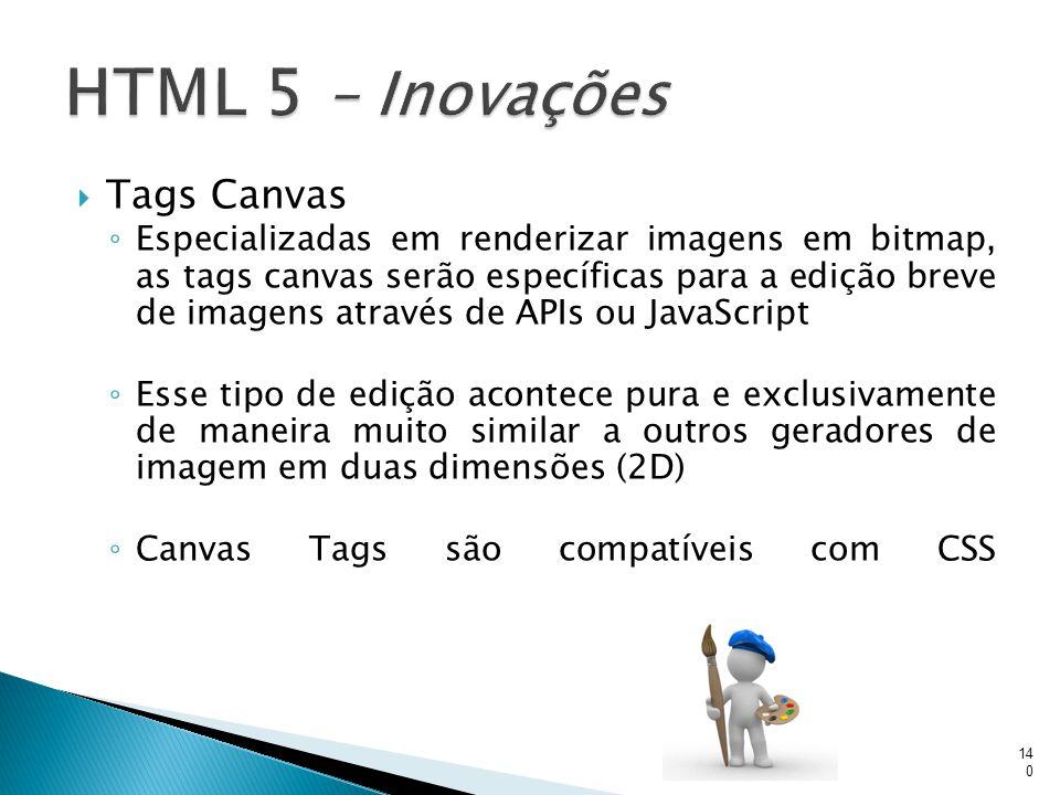  Tags Canvas ◦ Especializadas em renderizar imagens em bitmap, as tags canvas serão específicas para a edição breve de imagens através de APIs ou Jav