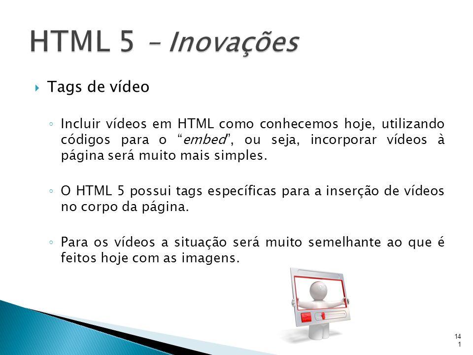 """ Tags de vídeo ◦ Incluir vídeos em HTML como conhecemos hoje, utilizando códigos para o """"embed"""", ou seja, incorporar vídeos à página será muito mais"""