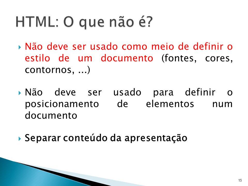  Não deve ser usado como meio de definir o estilo de um documento (fontes, cores, contornos,...)  Não deve ser usado para definir o posicionamento d