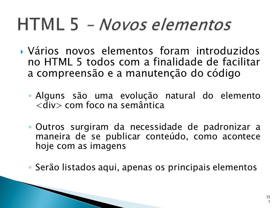  Vários novos elementos foram introduzidos no HTML 5 todos com a finalidade de facilitar a compreensão e a manutenção do código ◦ Alguns são uma evol