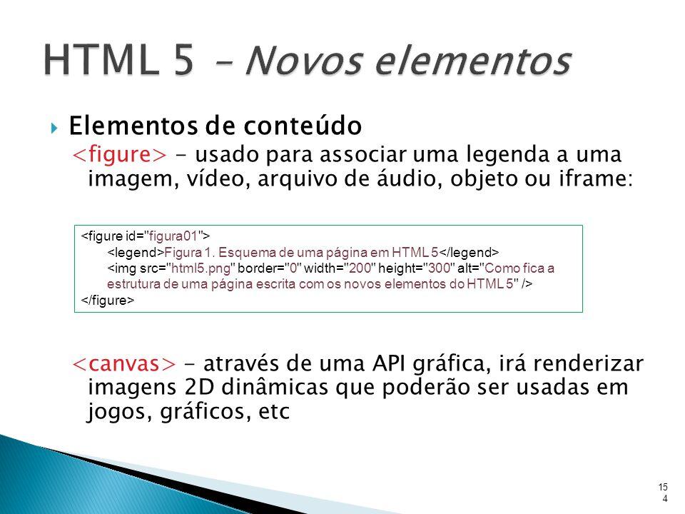  Elementos de conteúdo - usado para associar uma legenda a uma imagem, vídeo, arquivo de áudio, objeto ou iframe: - através de uma API gráfica, irá r