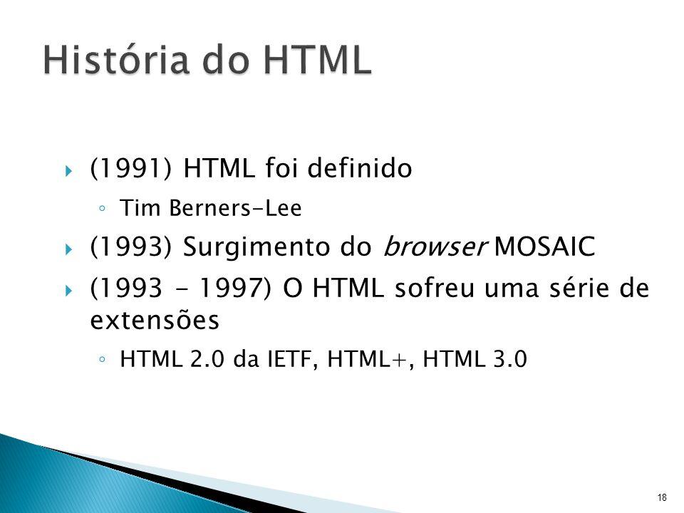  (1991) HTML foi definido ◦ Tim Berners-Lee  (1993) Surgimento do browser MOSAIC  (1993 - 1997) O HTML sofreu uma série de extensões ◦ HTML 2.0 da