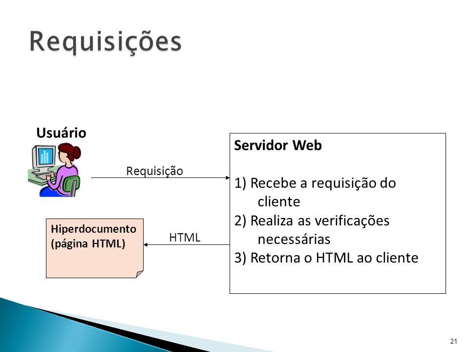 21 Servidor Web 1) Recebe a requisição do cliente 2) Realiza as verificações necessárias 3) Retorna o HTML ao cliente Hiperdocumento (página HTML) Req