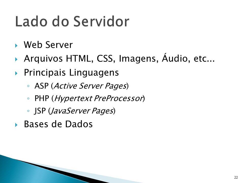  Web Server  Arquivos HTML, CSS, Imagens, Áudio, etc...  Principais Linguagens ◦ ASP (Active Server Pages) ◦ PHP (Hypertext PreProcessor) ◦ JSP (Ja