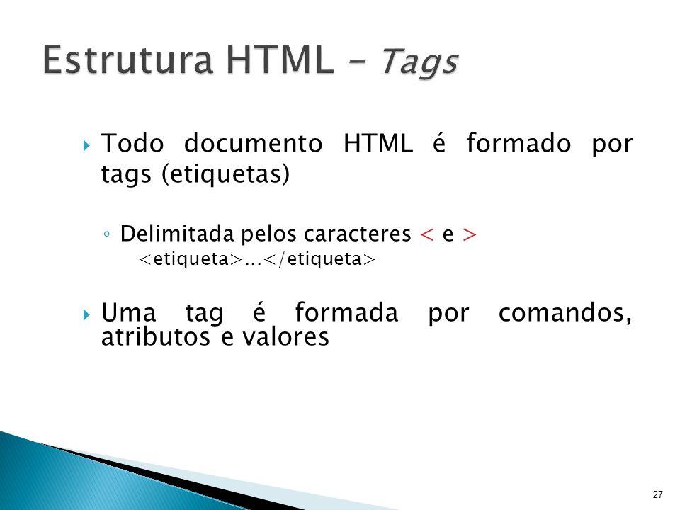  Todo documento HTML é formado por tags (etiquetas) ◦ Delimitada pelos caracteres...  Uma tag é formada por comandos, atributos e valores 27