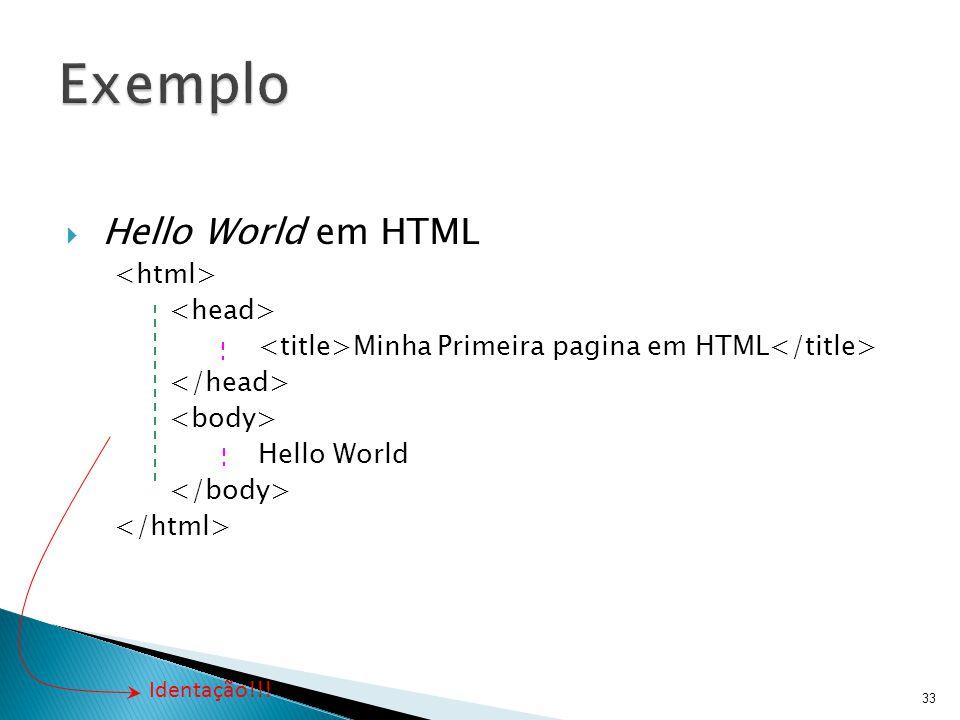  Hello World em HTML Minha Primeira pagina em HTML Hello World 33 Identação!!!