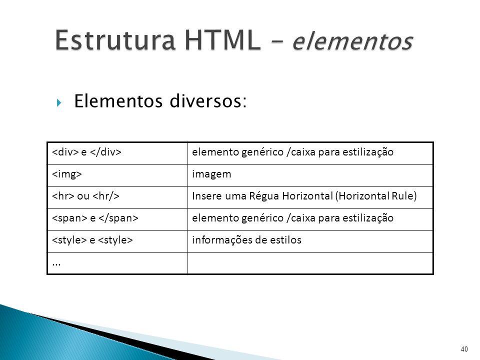  Elementos diversos: e elemento genérico /caixa para estilização imagem ou Insere uma Régua Horizontal (Horizontal Rule) e elemento genérico /caixa p