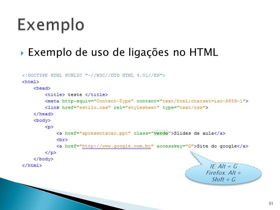  Exemplo de uso de ligações no HTML 51 IE: Alt + G Firefox: Alt + Shift + G IE: Alt + G Firefox: Alt + Shift + G