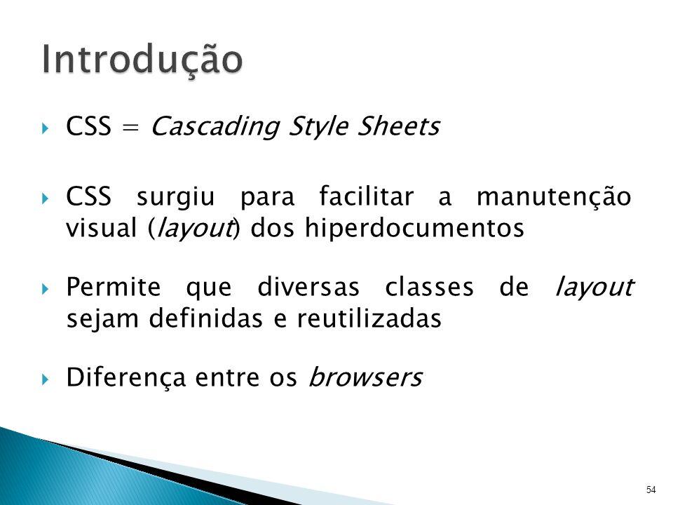  CSS = Cascading Style Sheets  CSS surgiu para facilitar a manutenção visual (layout) dos hiperdocumentos  Permite que diversas classes de layout s