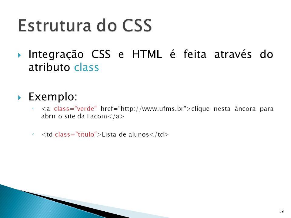  Integração CSS e HTML é feita através do atributo class  Exemplo: ◦ clique nesta âncora para abrir o site da Facom ◦ Lista de alunos 59