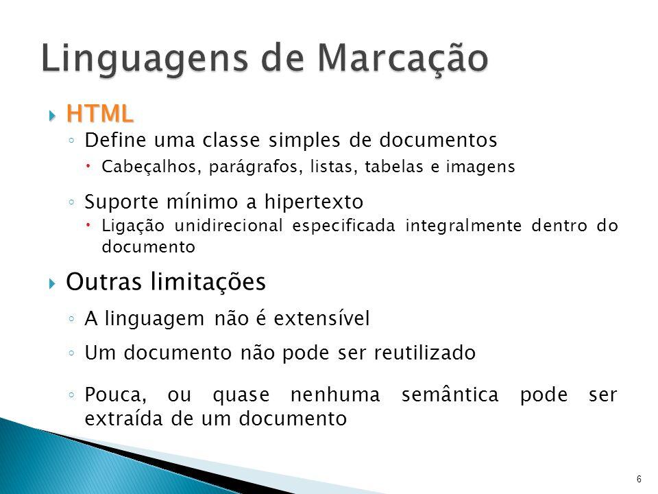  HTML ◦ Define uma classe simples de documentos  Cabeçalhos, parágrafos, listas, tabelas e imagens ◦ Suporte mínimo a hipertexto  Ligação unidireci