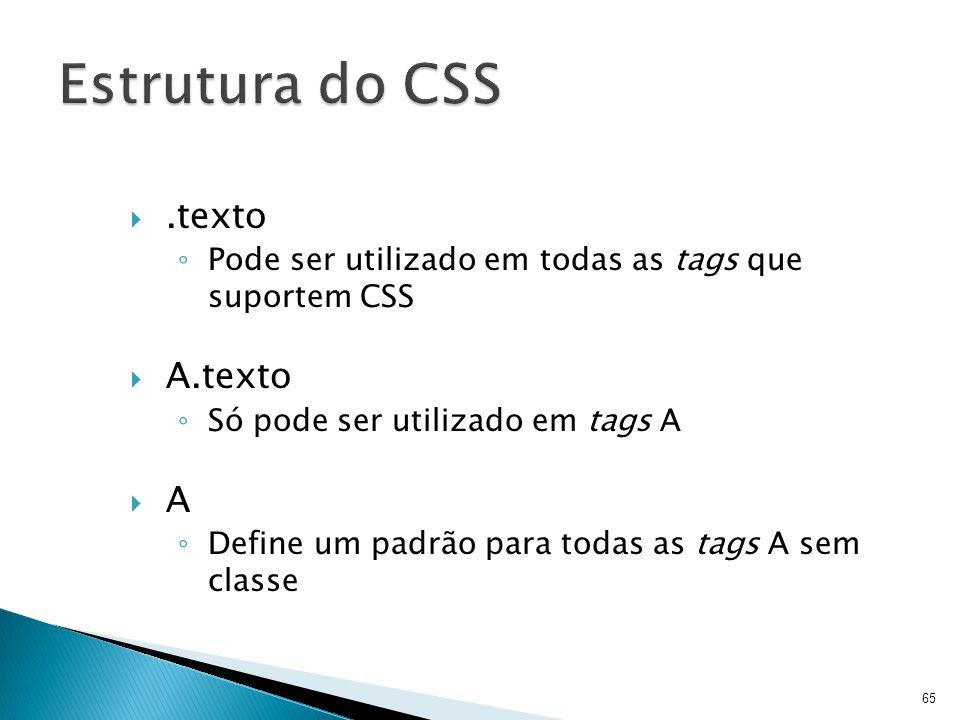 .texto ◦ Pode ser utilizado em todas as tags que suportem CSS  A.texto ◦ Só pode ser utilizado em tags A  A ◦ Define um padrão para todas as tags A