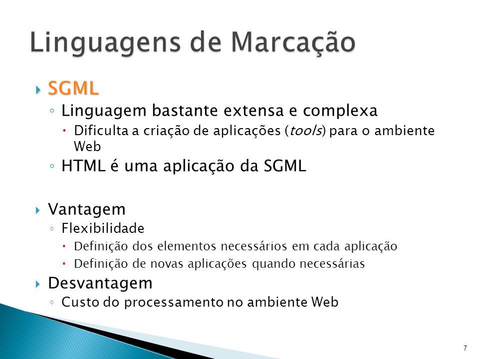  SGML ◦ Linguagem bastante extensa e complexa  Dificulta a criação de aplicações (tools) para o ambiente Web ◦ HTML é uma aplicação da SGML  Vantag