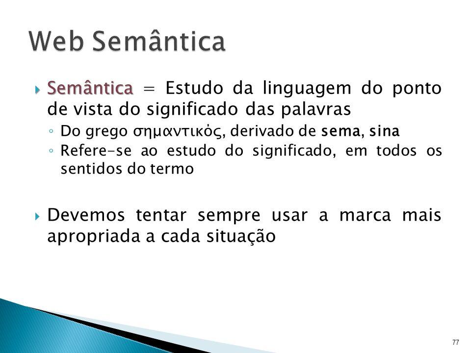  Semântica  Semântica = Estudo da linguagem do ponto de vista do significado das palavras ◦ Do grego σημαντικός, derivado de sema, sina ◦ Refere-se