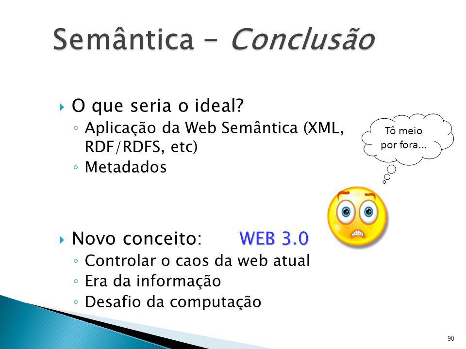  O que seria o ideal? ◦ Aplicação da Web Semântica (XML, RDF/RDFS, etc) ◦ Metadados WEB 3.0  Novo conceito: WEB 3.0 ◦ Controlar o caos da web atual