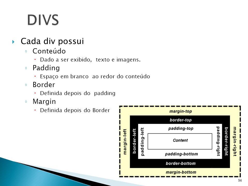 94 DIVS  Cada div possui ◦ Conteúdo  Dado a ser exibido, texto e imagens. ◦ Padding  Espaço em branco ao redor do conteúdo ◦ Border  Definida depo