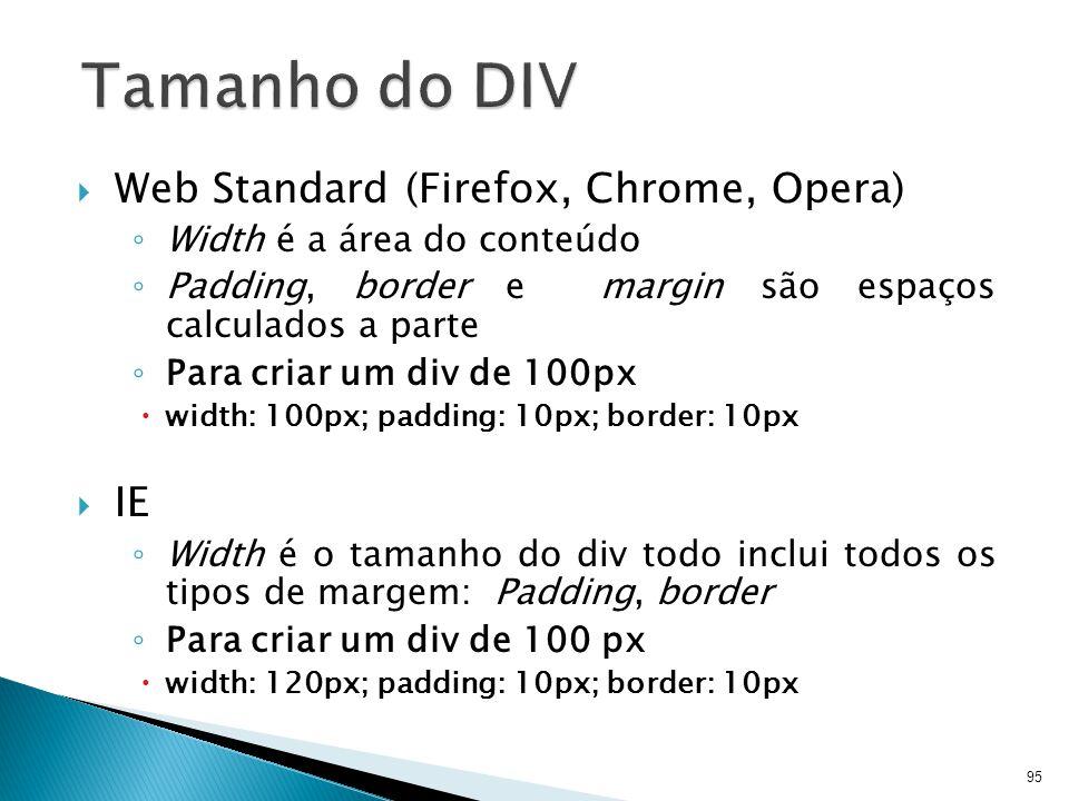 95 Tamanho do DIV  Web Standard (Firefox, Chrome, Opera) ◦ Width é a área do conteúdo ◦ Padding, border e margin são espaços calculados a parte ◦ Par