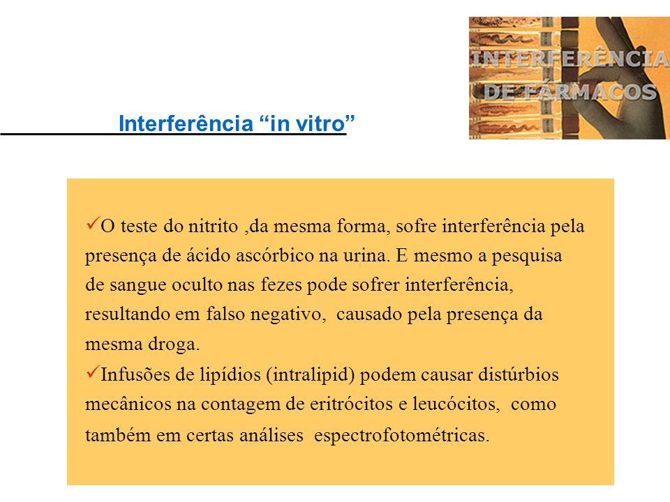 As drogas podem interferir em exames freqüentes no laboratório, como o exame sumário de urina, no qual a presença de ácido ascórbico pode interferir n