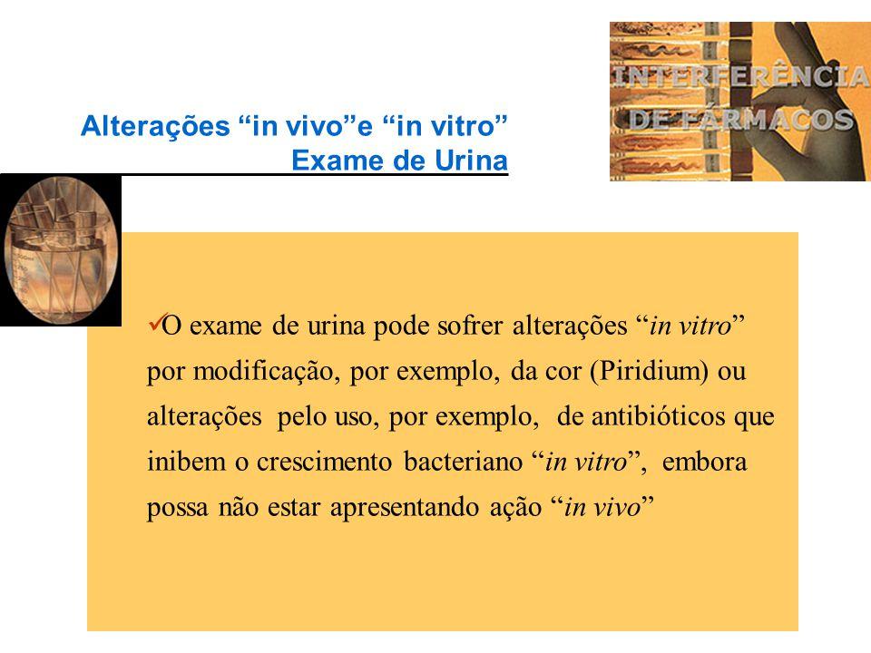 """Outros medicamentos provocam aumento """"in vivo""""da glicemia: Clonidina, Cortisona, Fenitoína, Morfina, Prednisona, Reserpina, Teofilina (diminuição da t"""