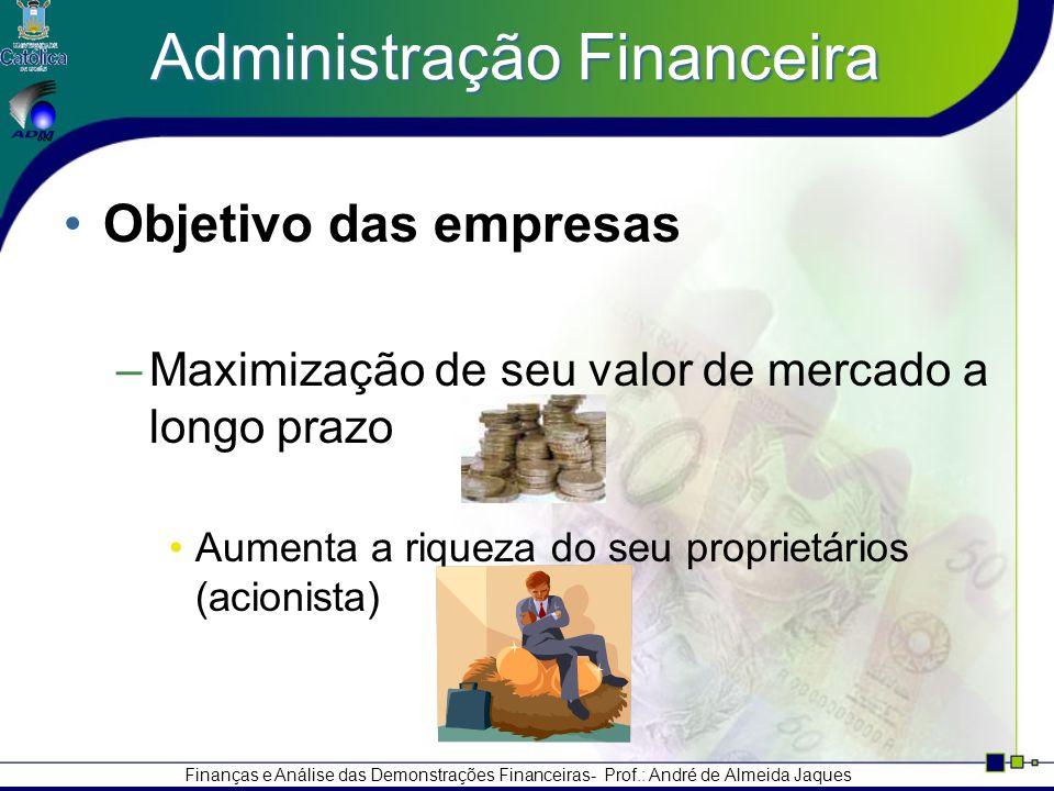 Finanças e Análise das Demonstrações Financeiras- Prof.: André de Almeida Jaques Administração Financeira Objetivo das empresas –Maximização de seu valor de mercado a longo prazo Aumenta a riqueza do seu proprietários (acionista)
