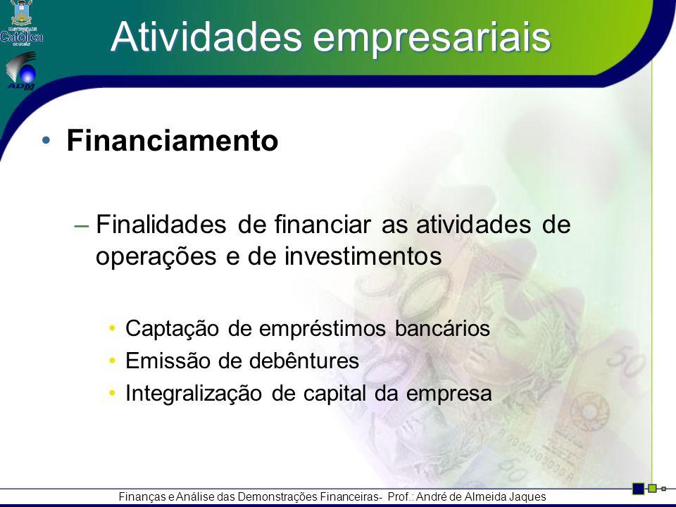 Finanças e Análise das Demonstrações Financeiras- Prof.: André de Almeida Jaques Atividades empresariais Financiamento –Finalidades de financiar as atividades de operações e de investimentos Captação de empréstimos bancários Emissão de debêntures Integralização de capital da empresa