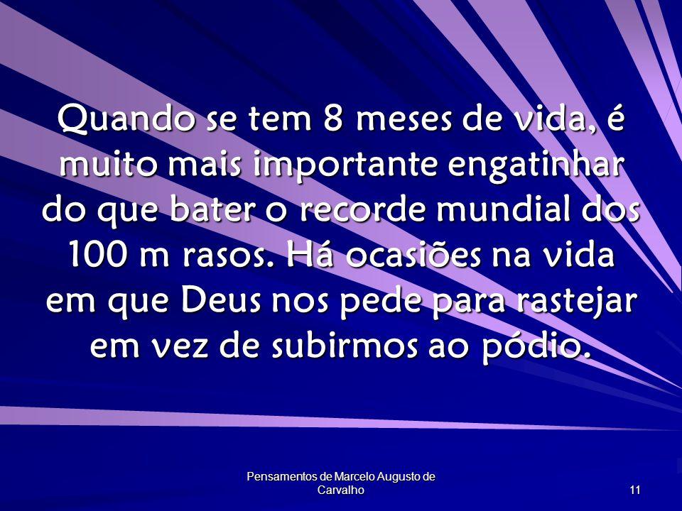 Pensamentos de Marcelo Augusto de Carvalho 11 Quando se tem 8 meses de vida, é muito mais importante engatinhar do que bater o recorde mundial dos 100 m rasos.