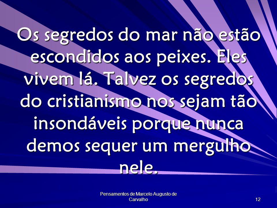Pensamentos de Marcelo Augusto de Carvalho 12 Os segredos do mar não estão escondidos aos peixes.